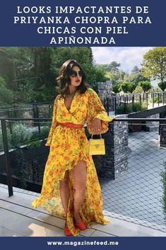 Looks impactantes de Priyanka Chopra para chicas con piel apiñonada Nick Jonas, Priyanka Chopra, Color Negra, High Low, Cover Up, Bohemian, Outfits, Dresses, Style