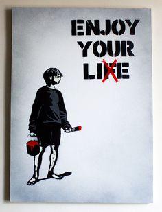 enjoy your lie Banksy Tattoo, Banksy Art, Digital Art Tutorial, Enjoy Your Life, You Lied, Art Tutorials, Art Sketches, Street Art, Inspirational Quotes