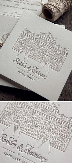 Wedding invitation created for Sandra - Letterpress Invitations, Letterpress Printing, Wedding Invitations, Stationery, Blind Embossing, Carton Invitation, Invitation Design, Creations, Graphic Design