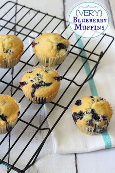 Moist, delicious, blueberry muffins!  Just made these. Next time I'm doubling the recipe. It's nice to have frozen berries on hand.