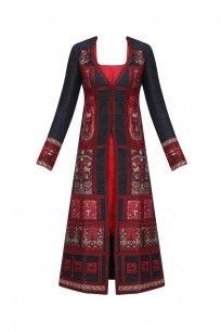 Black and Red Baluchari Jacket Dress with Red Slip #sumona #shopnow #elegant #ppus #happyshopping