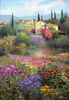 """Kent R. Wallis was born 1945 in Ogden, Utah,USA. """" Kent's superbly executed paintings blend the schools of romantic realism and impressionism. Paintings I Love, Beautiful Paintings, Beautiful Landscapes, Landscape Art, Landscape Paintings, Watercolor Paintings, Impressionist Art, Wallis, Love Art"""