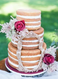 Naked cake with roses | Tulip + Rose Photography | see more on: http://burnettsboards.com/2015/11/manets-luncheon-grass-wedding-inspiration/