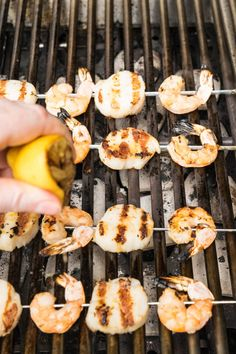 Grilled shrimp and scallop kebobs, lightly seasoned and skewered, the perfect summer dish. Grilled Shrimp Marinade, Grilled Seafood, Smoked Shrimp, Garlic Butter Shrimp, Shrimp And Scallop Recipes, Shrimp Recipes, Shrimp Skewers, Kabobs, Traeger Recipes