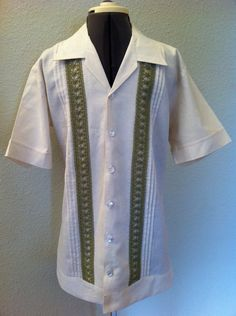 Hemp Guayabera Shirt with sage trim, Cuban shirt, Dressy shirt for beach wedding, Cabana shirt. $118.00, via Etsy.