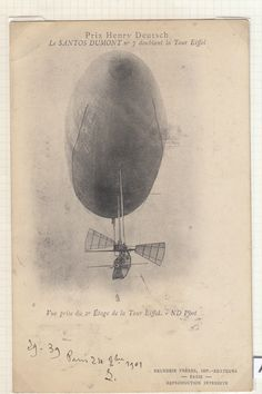 FRANCE, 1901 USED PPC OF SANTOS DUMONT NO.6 AIRSHIP | eBay