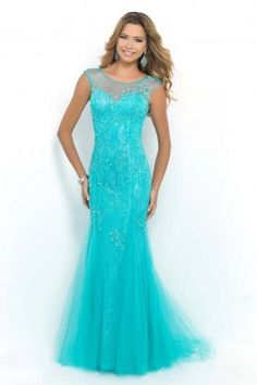 2015 Turquoise Sexy Lace Low Back Long Formal Evening Gowns