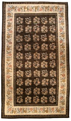 A Russian Bessarabian rug BB1441 - An early 20th century Russian Bessarabian antique rug, the striated cocoa field with evenly-arranged bouquets withi ...