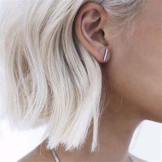 8 사계절 새로운 패션 보석 힙합 펑크 멋진 쉬운 클립 스터드 귀걸이 선물 여성 소녀 골드 도금/실버 톤/블랙 1 쌍