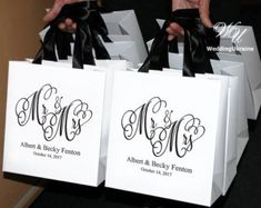 25 Mr Mrs Gift Bags Personalized Wedding Welcome Bag Etsy