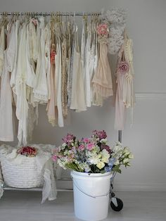 Love the idea of hanging up beautiful dresses and using them as a design element in your space.