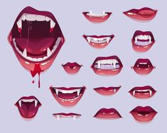 Vampire mouth with fangs set, female red... | Free Vector #Freepik #freevector #halloween