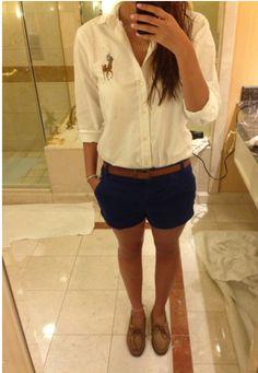 Love the white button up Ralph Lauren shirt