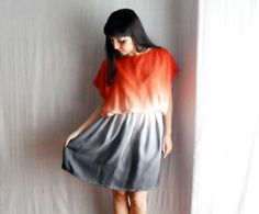 Ombrè tunic dress in orange,grey and white - One of a kind and One size - Spring fashion by etsy store Alice Closet