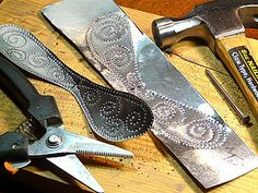 tutorial image 3 by gingerbread_snowflakes, via Flickr. Punched tin can be used pie tins, roof flashing, or aluminum pop cans. Cut with tin snips and punch with nails. Use for Mexican casitas and other art projects.