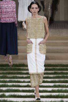 Chanel | Spring 2016 Couture | 23 Gold/white sleeveless top and midi skirt with twin pockets