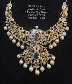 Omprakash Jewellers are one of the best jewelry shops in Hyderabad with vast variety of traditional, bridal & modern gold, diamond and Silver jewellery. Pearl Necklace Designs, Jewelry Design Earrings, Gold Earrings Designs, Gold Designs, Stone Necklace, Jewelry Necklaces, Gold Jewelry Simple, Silver Jewelry, Gold Jewellery