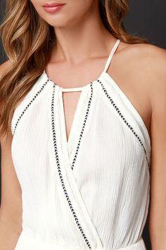Pretty Cream Dress - Maxi Dress - Halter Dress - Boho Dress - $49.00