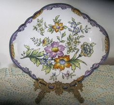 Vintage Hand Painted Nippon Handled Oval Scalloped Bowl #Nippon