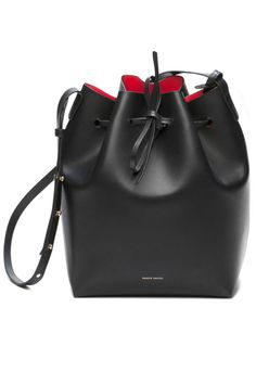 Mansur Gavriel Black Draw-String Bucket Bag; mansurgavriel.com