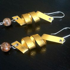 Yellow Aluminum Wire Wrapped Earrings Spiral Bead by 2012BellaVida