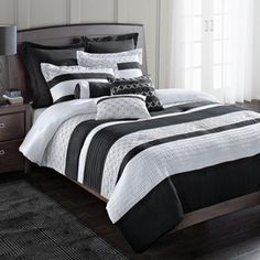 wholeHome®/MD 'Blake' 8-Piece Comforter Set - Sears Canada Shopping, Online Furniture, Comforter Sets, Mattress, Comforters, Appliances, Blanket, Bedroom Ideas, Stuff To Buy