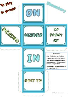 Prepositions of place - words DICE - English ESL Worksheets English Games, English Resources, English Activities, English Lessons, Learn English, French Lessons, Spanish Lessons, Learn French, English Prepositions
