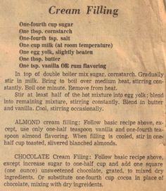 Vintage Cream Filling Recipe Clipping in 2019 Cream Filling Recipe, Cake Filling Recipes, Cream Puff Recipe, Pastry Recipes, Frosting Recipes, Cake Recipes, Dessert Recipes, Bavarian Cream Filling, Cream Puff Filling