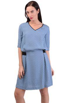 825e10e04388 PINKO Blouson Dress Size 44 / L Jacquard Patterned Belted Elbow Sleeve V- Neck #