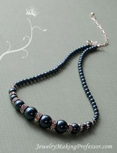 String different size Swarovski Pearls with Swarovski Rondelles to create this beautiful necklace.