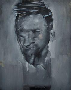 """Razvan Boar. """"Uncomfortable Portrait"""" (2011) Oil on canvas 19.5 x 16 in  www.theartaffair.com #TaylorCollectionDenver"""