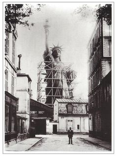 The construction of the Statue of Liberty in Paris, somewhere around 1880