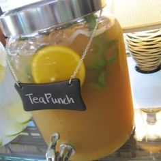 """alcohol punch recipes """"A different twist to a standard punch. Brewed tea is mixed with orange juice, pineapple juice, lemonade and ginger ale. Fruit Drinks, Smoothie Drinks, Yummy Drinks, Smoothies, Fruit Cups, Refreshing Drinks, Party Drinks, Healthy Drinks, Healthy Food"""