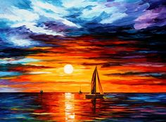 Leonid Afremov, oil on canvas, palette knife, buy original paintings, art, famous artist, biography, official page, online gallery, large artwork, fine, water, boat, sea, scape, pier, dock, night, calm, yachts, harbor, shore, rest, ship, regatta