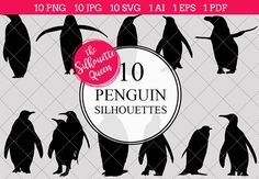 Penguin Silhouette Vector Graphics includes PNG files with transparent backgrounds at The PNGs are approximately 10 inches at it's widest point. Silhouette Clip Art, Black Silhouette, Tree Silhouette, Silhouette Studio, Penguin Images, Penguin Pictures, Penguin Bird, Animal Cutouts, Funny Christmas Sweaters