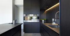 Liked on Pinterest: Black Kitchen