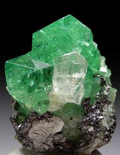 Tsavorite on Graphite Merelani HIlls, Arusha Region, Tanzania 20mm x 15mm x 10mm Glassy, green Tsavorite crystals on Graphite with a small yellow Tanzanite crystal attached to the front.