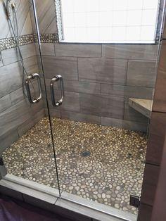 Bali Cloud Pebble Tile Shower Floor and Border with Dark Grout - Pebble Tile Shop Pebble Tile Shower Floor, Bathroom Floor Tiles, Grey Tile Shower, Large Tile Shower, Tile Floor, Floor Grout, Tub Tile, Glass Tiles, Tiling