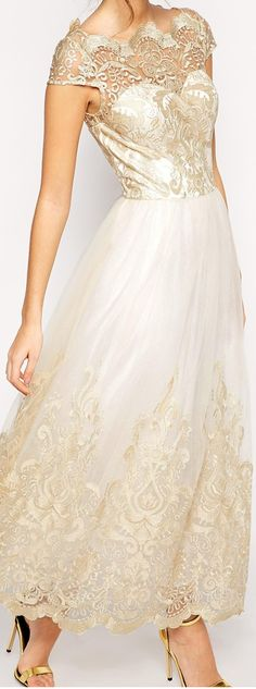 Gold lace accents on this awesome dress are awesome!