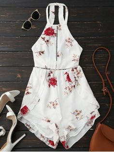 $20.84 Open Back Floral Romper With Belt - WHITE M