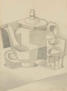 Juan Gris (Spanish, 1887-1927), Nature morte à la théière [Still life with teapot], 1916. Pencil on paper laid down on paper, 39 x 28.2 cm.