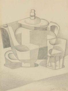 Juan Gris (Spanish, Nature morte à la théière [Still life with teapot], 1916 Picasso Cubism, Cubism Art, Still Life Drawing, Still Life Art, Cubist Drawing, Interior Architecture Drawing, Georges Braque, Elements Of Art, Art Plastique