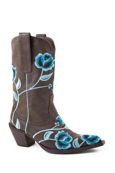 c4aea0e1eec Women s Roper Brown Faux Leather Boot W Floral Emb X Western Clothing  Western Outfits