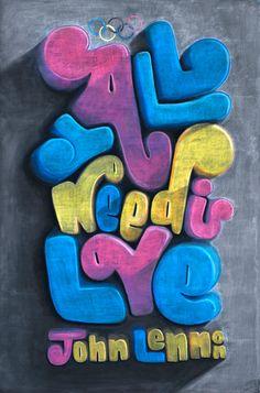 Typographic Chalkboard Artworks by Dangerdust