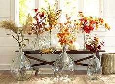 Recycled Glass Vases with Faux Floral Stems
