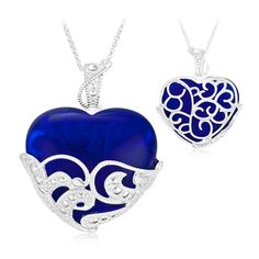 8/8/2012 Summer Birthstone Collection  $14.99  + FREE SHIPPING Sapphire Colored Glass Heart Sterling Silver Pendant