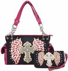 Western Cowgirl Purse Cross Angel Wing Handbag Messenger Shoulder Bag Wallet Set