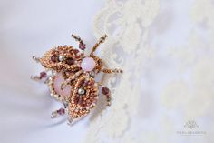 Beaded beetle bug brooch rose quartz by VEHA on Etsy Handmade Jewelry, Unique Jewelry, Handmade Gifts, Beetle Bug, Rose Quartz, Bugs, Brooch, Trending Outfits, Earrings