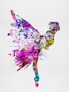 Ballerina On Stage Watercolor 3 Print by Naxart Studio