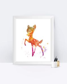 Bambi Print, Bambi Poster, Painting, Watercolour, Disney Print, Disney Bambi, Watercolor, Nursery, Disney Art, Wall Art, Gift, Illustration by sPRINNT on Etsy